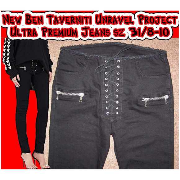 1eaf1a65a3e New Ben Taverniti lace up black jeans sz 31 8-10. NWT. Ben Taverniti  Unravel Project